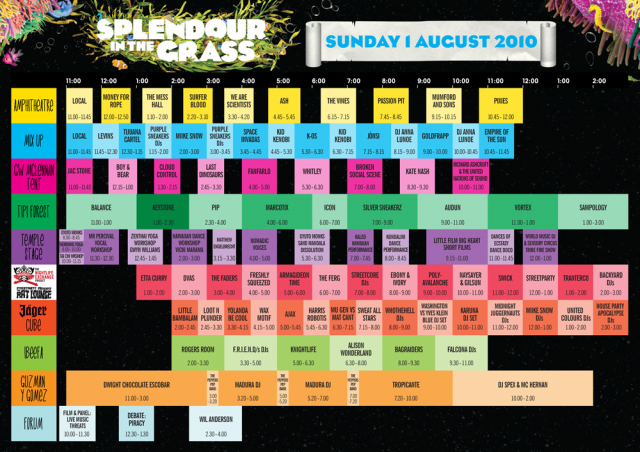 Splendour 2010 playing times