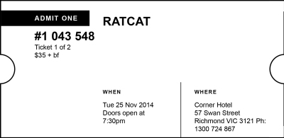 Ratcat ticket stub