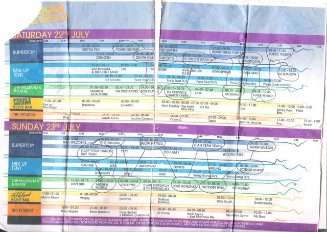 Splendour in the Grass 2006 playing times