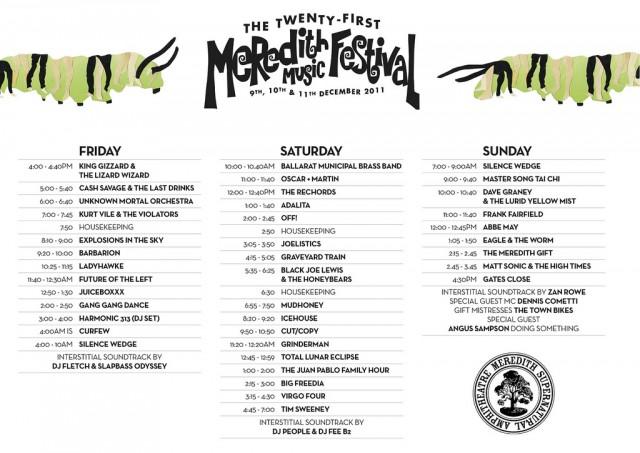 Meredith 2011 timetable