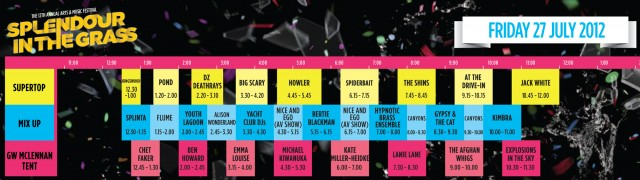 Splendour In The Grass playing times- Friday 27 July