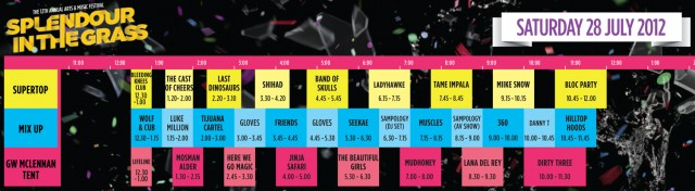 Splendour In The Grass playing times- Saturday 28 July