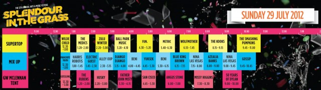 Splendour In The Grass playing times- Sunday 29 July