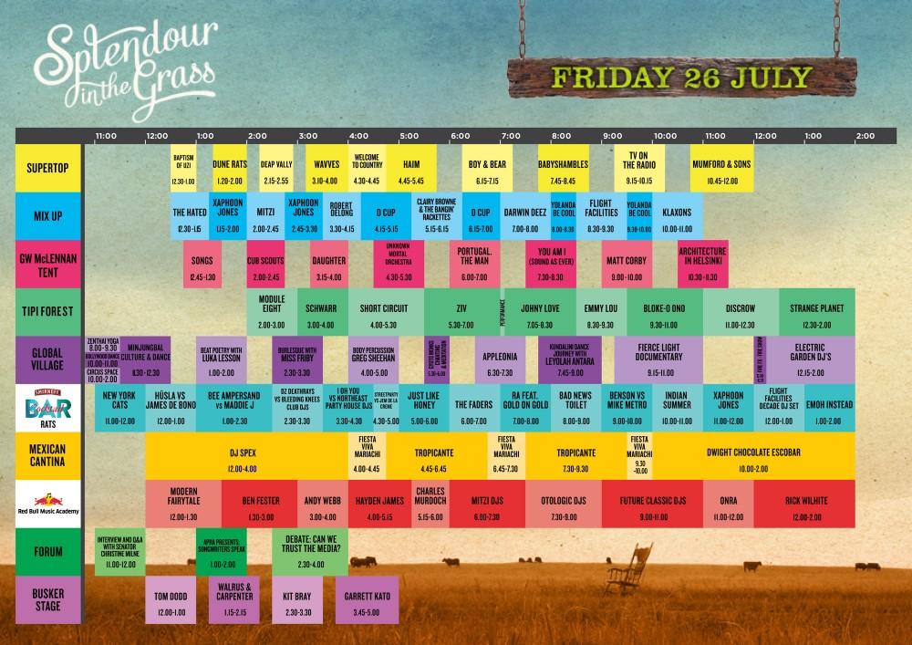 Splendour 2013 timetable Friday