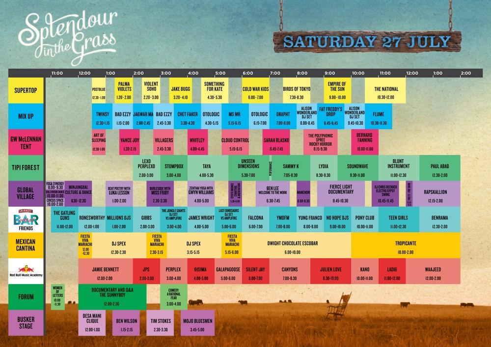 Splendour 2013 timetable Saturday