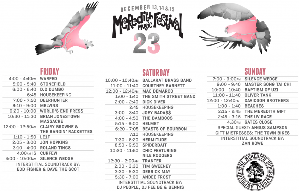 Meredith Music Festival 2013 - playing times