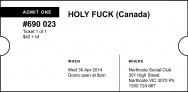 Holy Fuck ticket stub