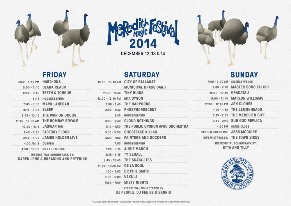 Meredith Music Festival 2014 playing times